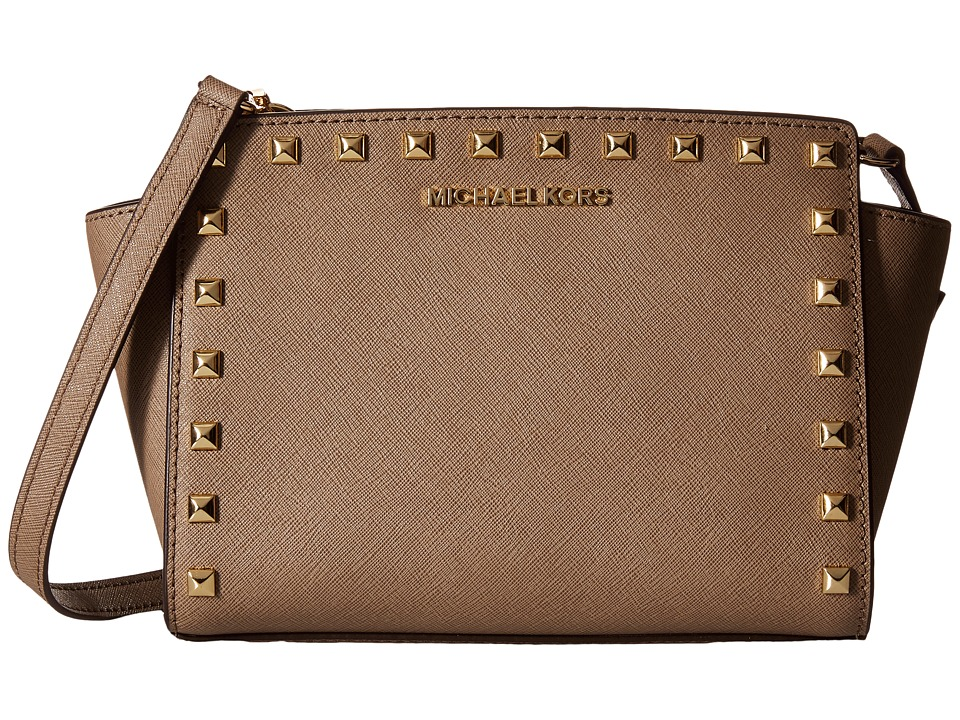 MICHAEL Michael Kors - Selma Stud Medium Messenger (Dark Dune) Cross Body Handbags