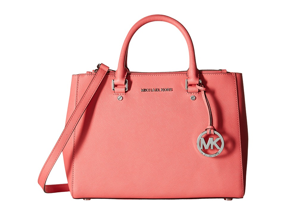 MICHAEL Michael Kors - Sutton Medium Satchel (Coral) Satchel Handbags