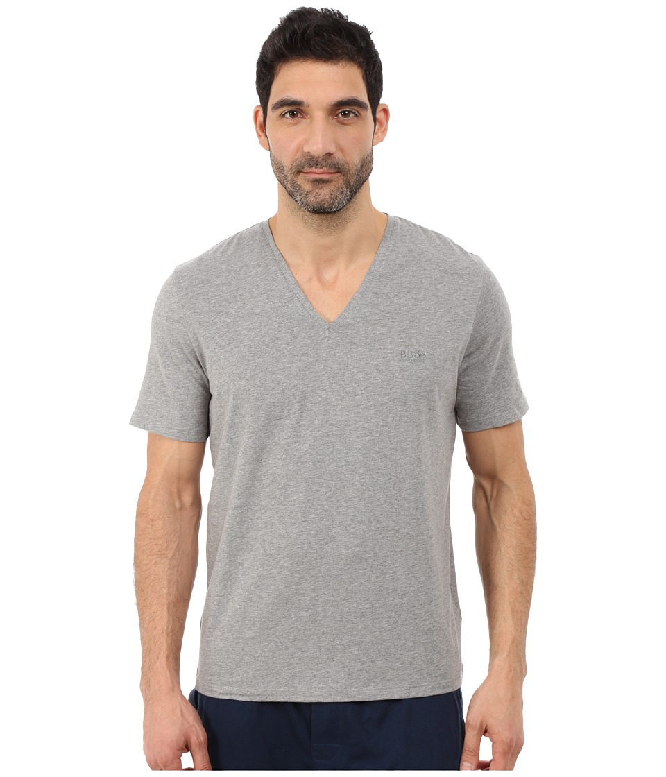 BOSS Hugo Boss - Cotton Stretch V-Neck (Medium Grey) Men's Clothing
