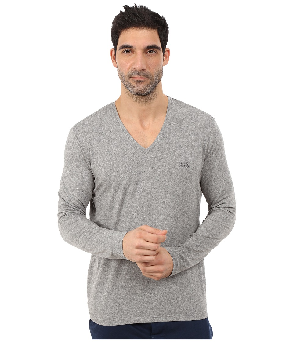 BOSS Hugo Boss - Long Sleeve Mix and Match V-Neck Cotton Stretch (Medium Grey) Men