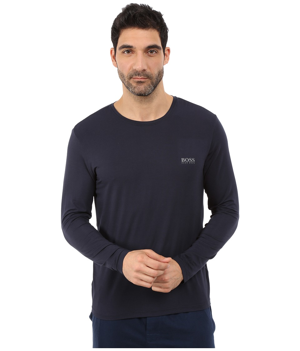 BOSS Hugo Boss - Long Sleeve Crew Modal (Navy) Men's T Shirt
