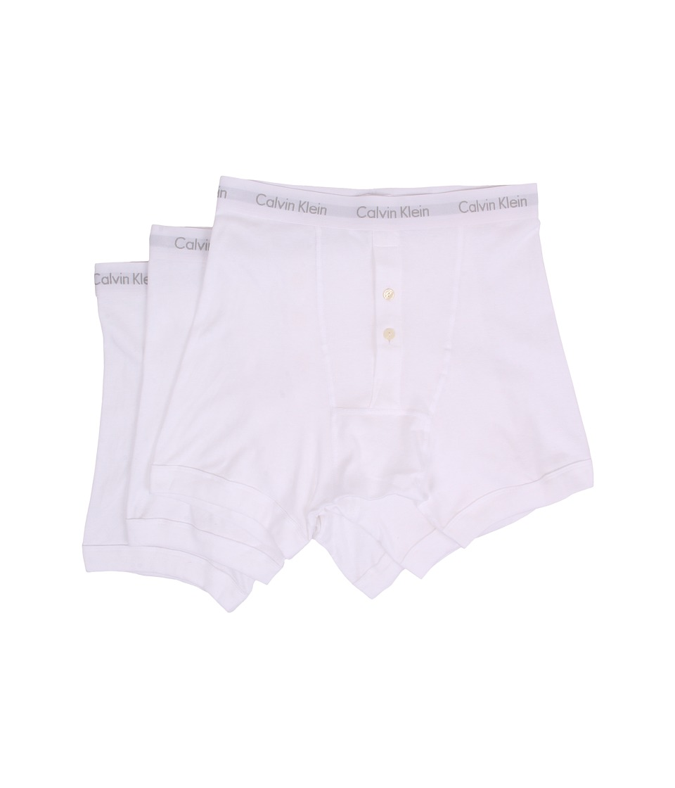 Calvin Klein Underwear - Cotton Classics Button Fly Boxer Brief 3-Pack NB1120 (White) Men