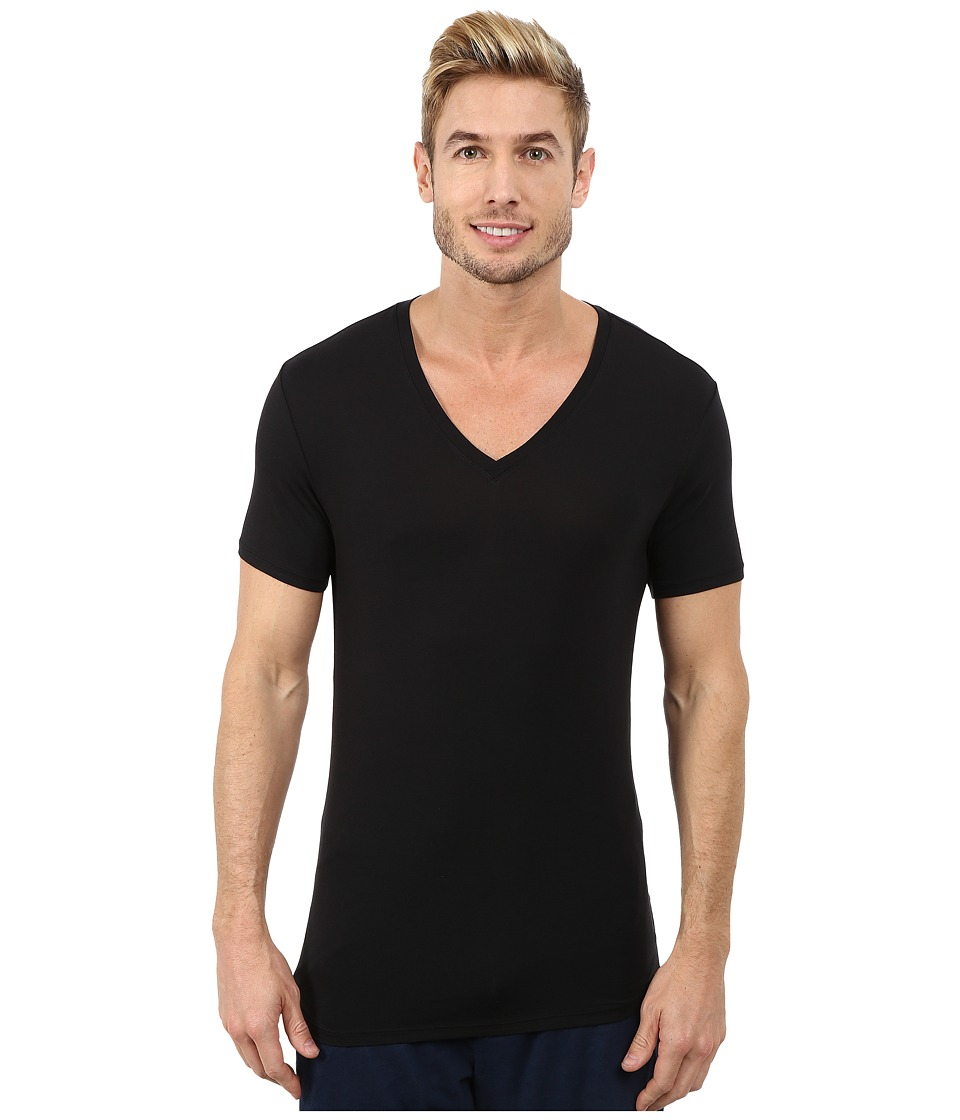 Calvin Klein Underwear - Wide Neck Short Sleeve V-Neck (Black) Men's Clothing