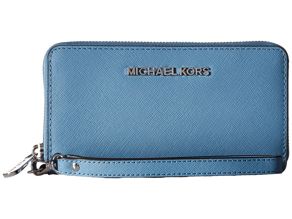 MICHAEL Michael Kors - Jet Set Travel Large Mlt Funt Phone Case (Sky) Clutch Handbags