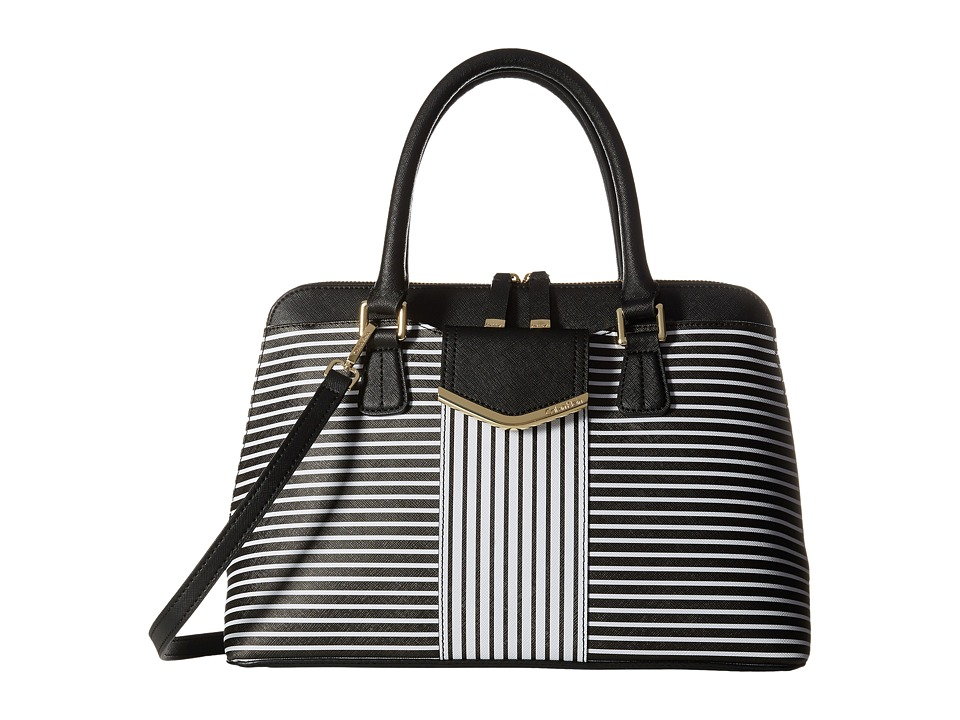 Calvin Klein - On My Corner H3GD11RP (Black/White Stripe) Satchel Handbags