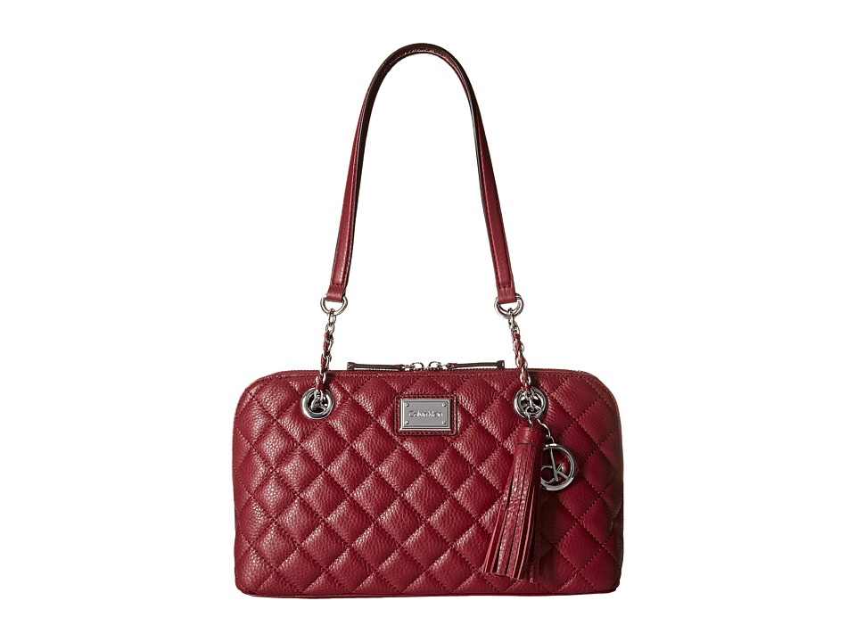 Calvin Klein - Quilted Pebble Leather Satchel (Red Delicious) Satchel Handbags