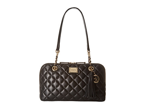 Calvin Klein - Quilted Lamb Satchel (Black/Gold 1) Satchel Handbags