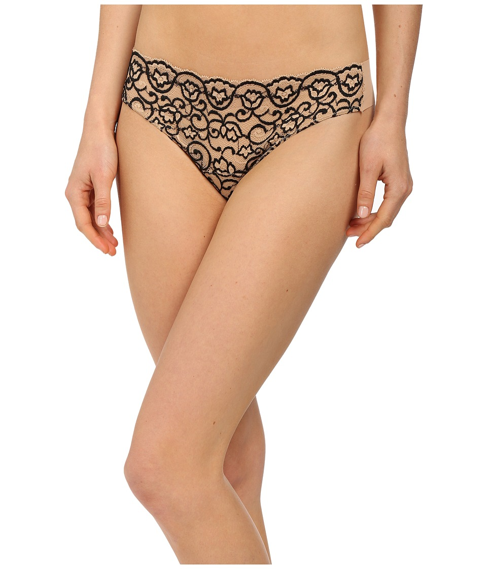 Commando - Double Take Lace Thong LT14 (Cross Dyed Black) Women's Underwear