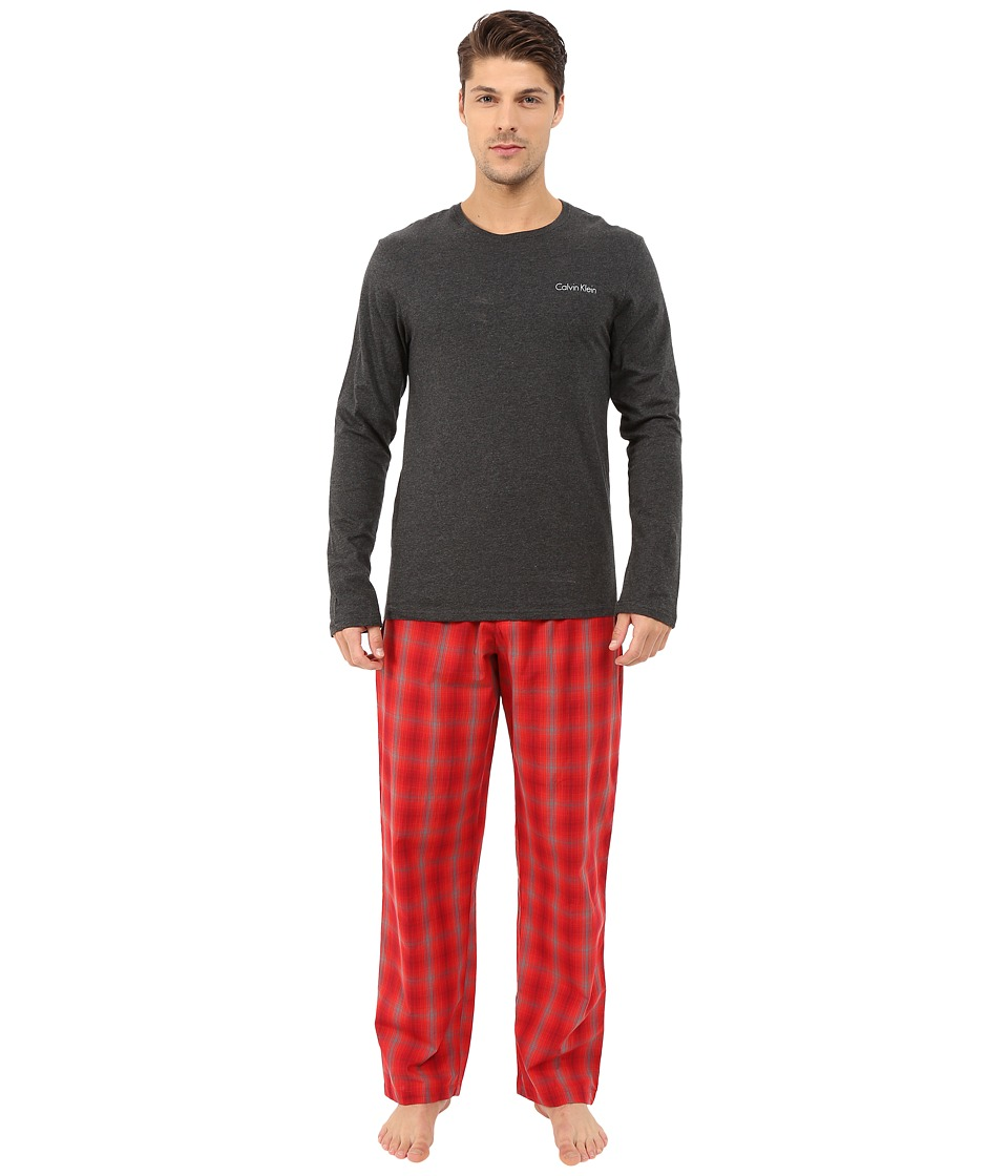 Calvin Klein Underwear - Sleep Set (Charcoal Heather Top/Daniel Plaid/Ignite Red) Men's Pajama Sets