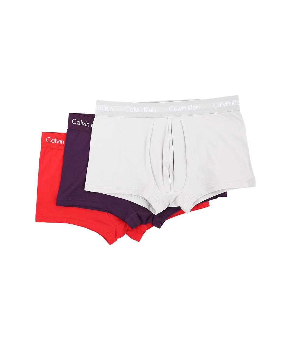 Calvin Klein Underwear - Cotton Stretch Low Rise Trunk 3-Pack NU2664 (Silver Nickel/Dark Violet/Ignite Red) Men's Underwear