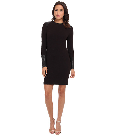 Nicole Miller - Triangle Knit w/ Leather Inserts Dress (Black) Women