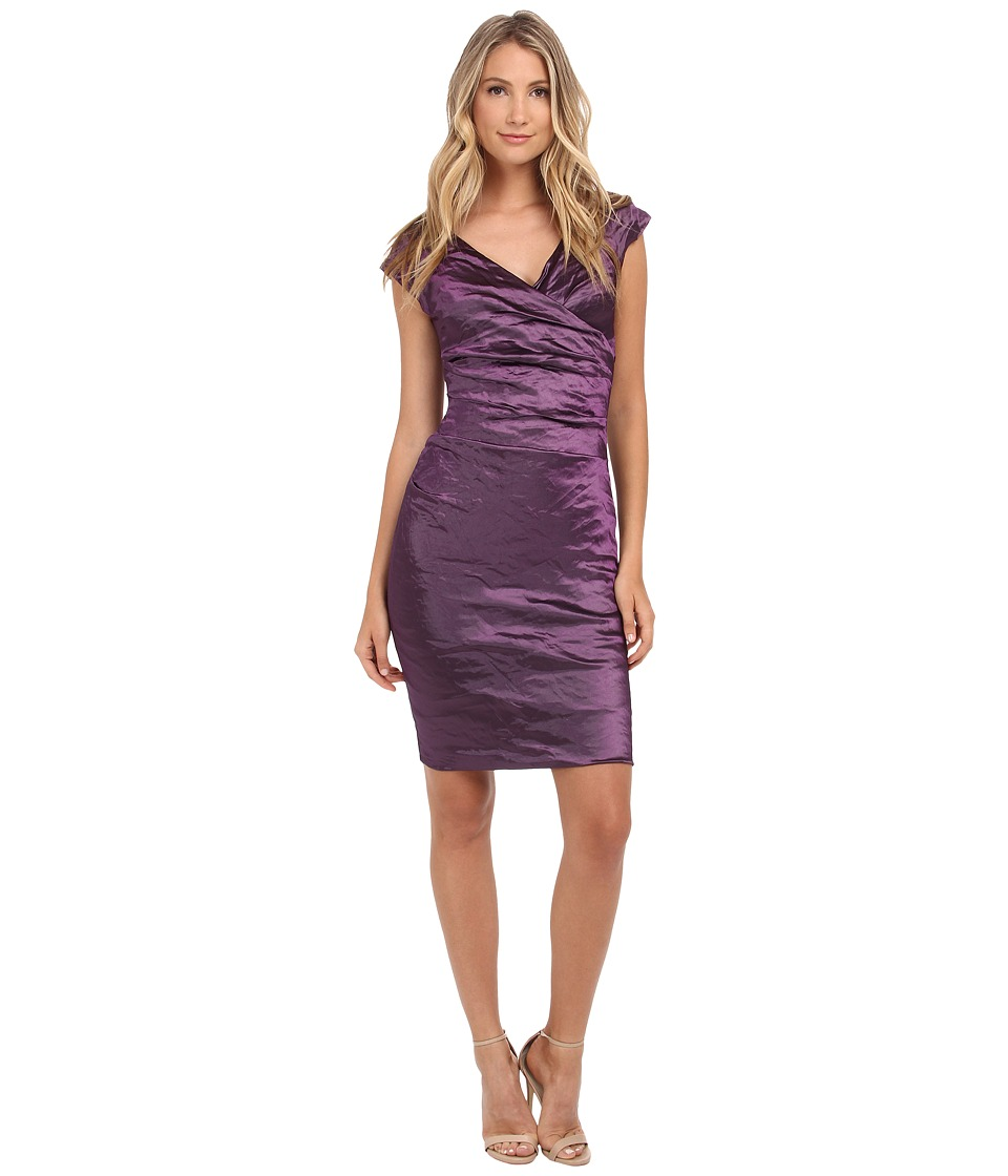 Nicole Miller Beckette Techno Cap Sleeve Dress (Majestic Purple) Women