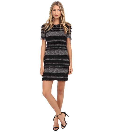 Nicole Miller - Eyelash Stripe Yummy Knit Dress (Black/Ivory) Women