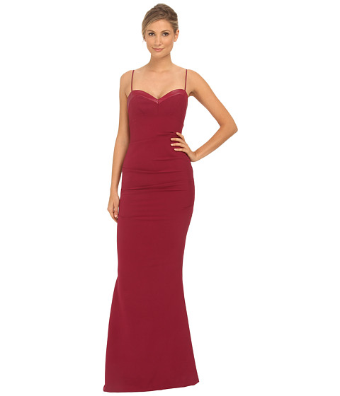 Nicole Miller - Leather Piped Sweetheart Gown (Berry) Women