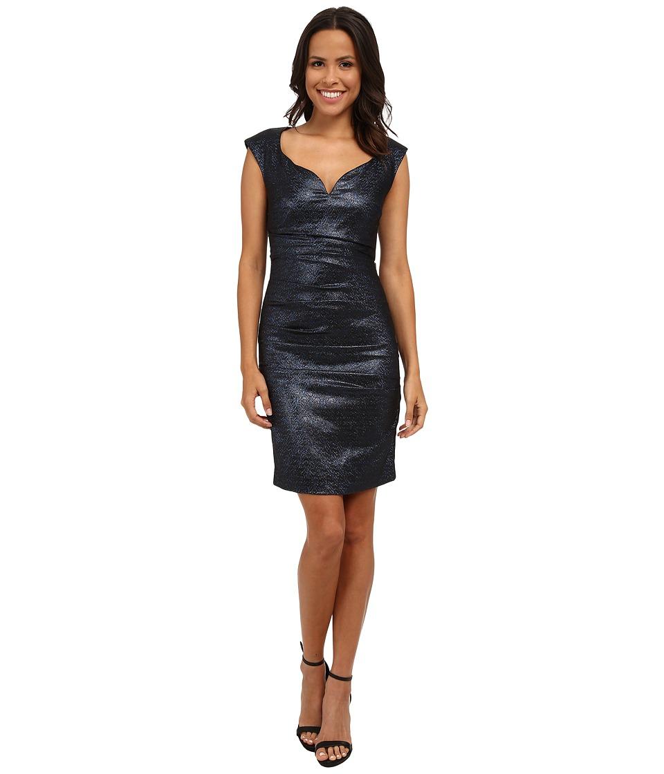 Nicole Miller - Sparkle Jaquard Wire V Dress (Blue) Women's Dress