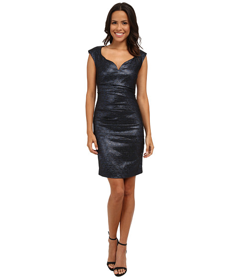 Nicole Miller - Sparkle Jaquard Wire V Dress (Blue) Women's Dress