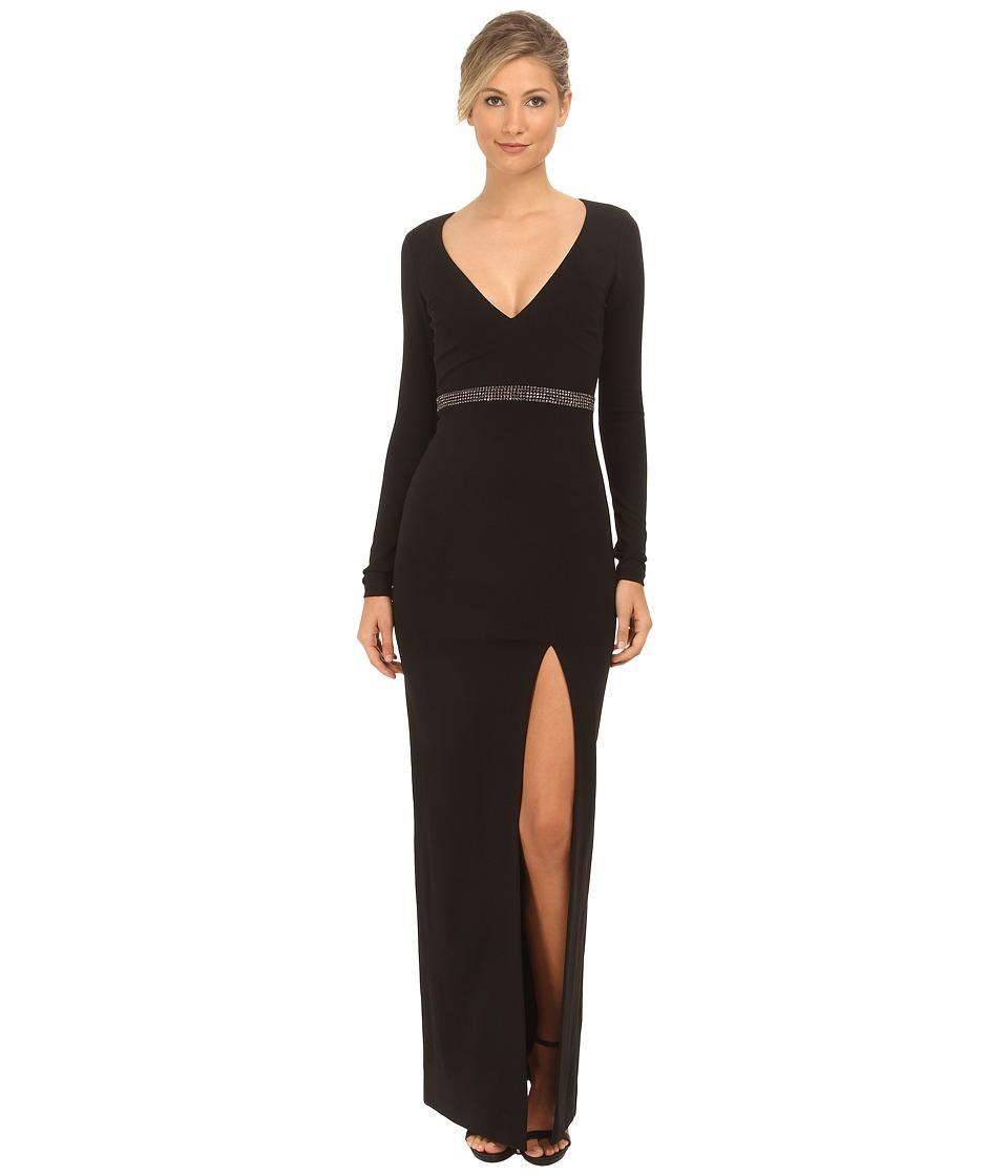 Nicole Miller Asli Open Back Deep V Gown (Black) Women