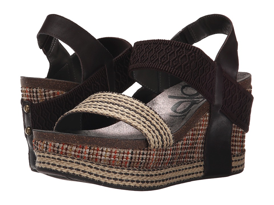 OTBT - Bushnell (Dark Brown Fabric) Women's Wedge Shoes