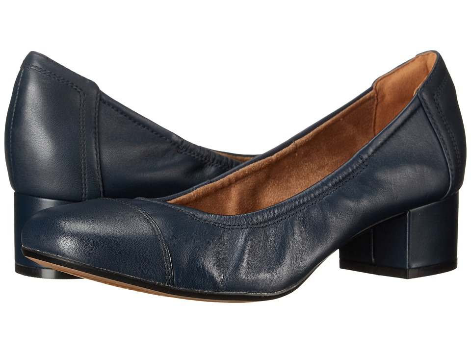 Clarks - Cala Dor (Navy Leather) Women's 1-2 inch heel Shoes