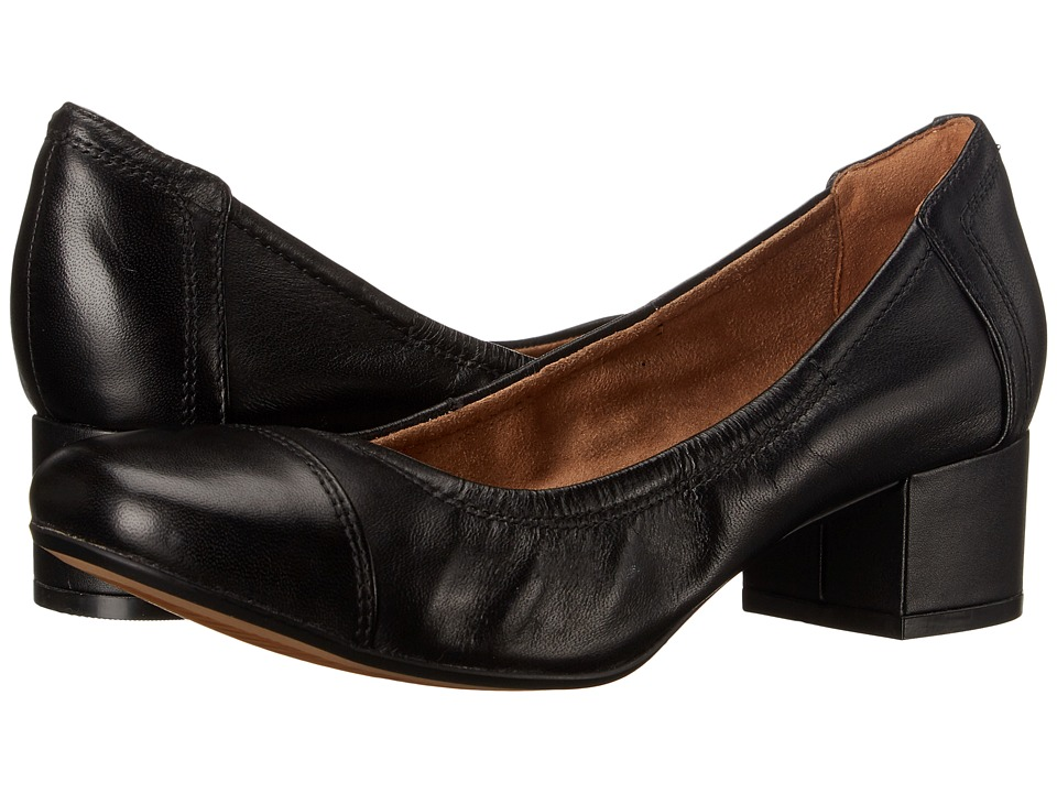 Clarks - Cala Dor (Black Leather) Women's 1-2 inch heel Shoes