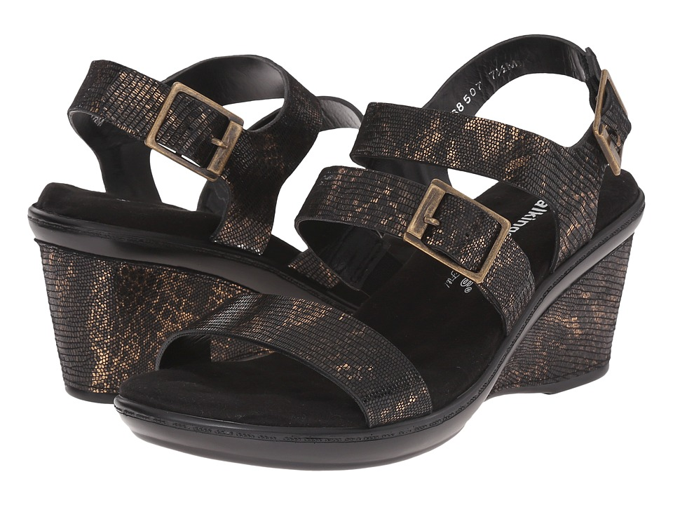 Walking Cradles - Lean (Black/Bronze Lizard Print) Women's Shoes