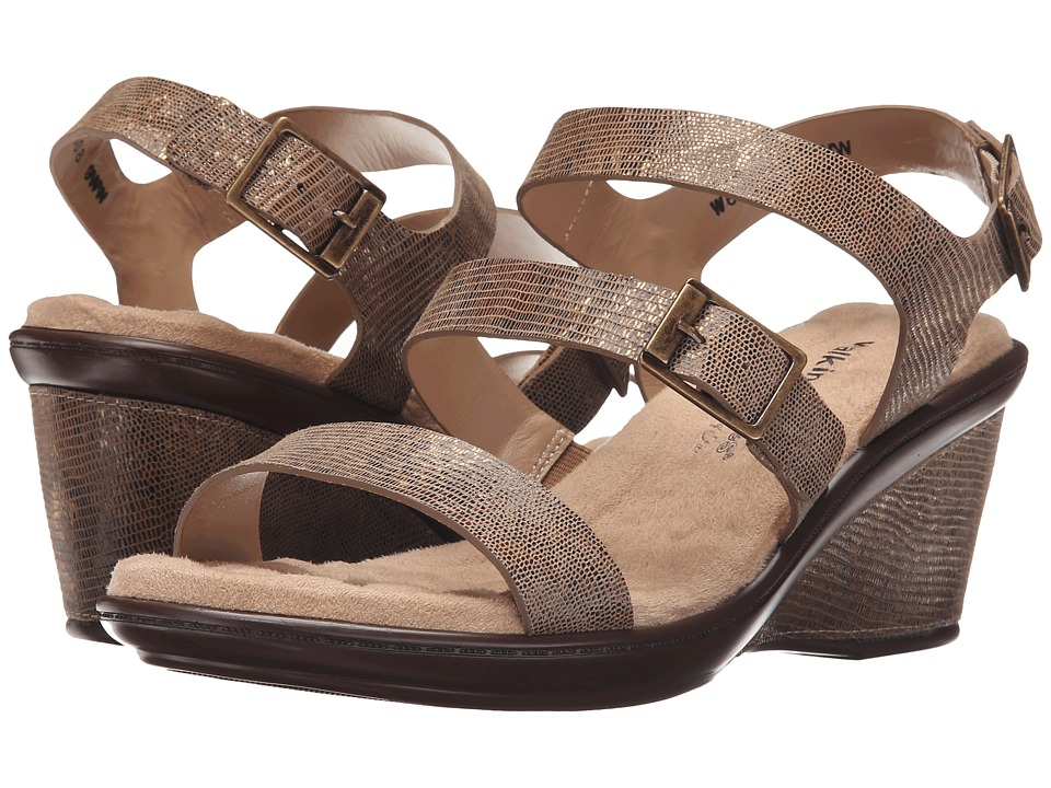 Walking Cradles - Lean (Taupe/Gold Lizard Print/White Leather) Women's Shoes