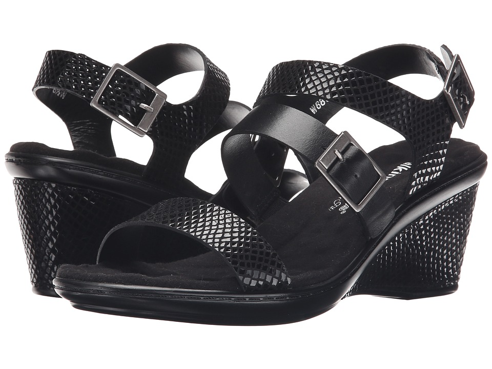 Walking Cradles - Lean (Black Snake Print/Black Soft Maia/Black Leather) Women