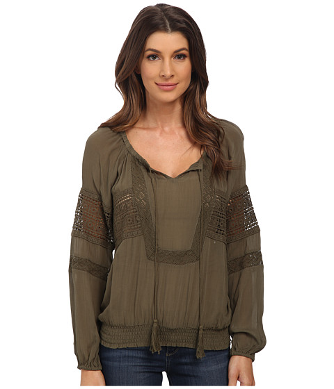 XOXO - Lace Detail Peasant Top (Olive) Women's Clothing