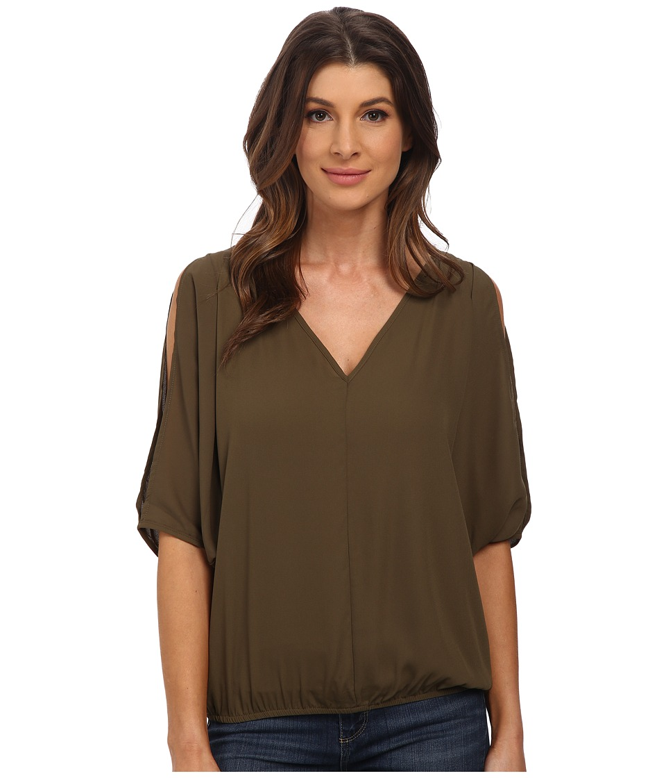 XOXO - V-Neck Top (Olive) Women's Clothing