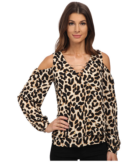 XOXO - Printed Cold Shoulder Top (Black/Taupe) Women's Clothing