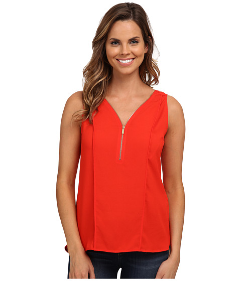 Calvin Klein - 1/2 Zip Flanged Tank Top (Tango Red) Women