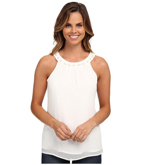 Calvin Klein - Chiffon Halter w/ Ring Detail (Soft White) Women