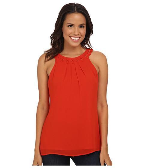 Calvin Klein - Chiffon Halter w/ Ring Detail (Tango Red) Women's Blouse