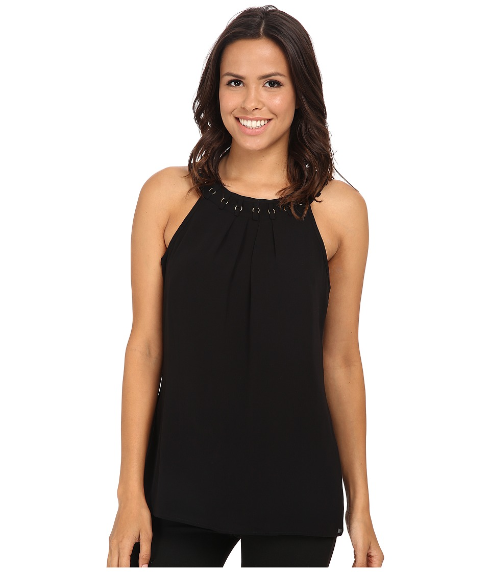 Calvin Klein - Chiffon Halter w/ Ring Detail (Black) Women's Blouse