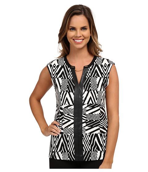 Calvin Klein - Short Sleeve Print V-Neck Chain (Black Peak) Women's Clothing