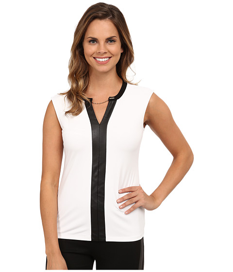 Calvin Klein - Short Sleeve V-Neck Chain Top (Soft White) Women