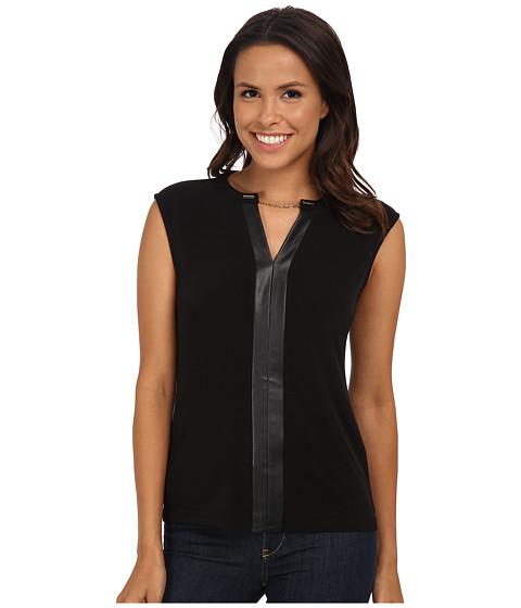 Calvin Klein - Short Sleeve V-Neck Chain Top (Black) Women