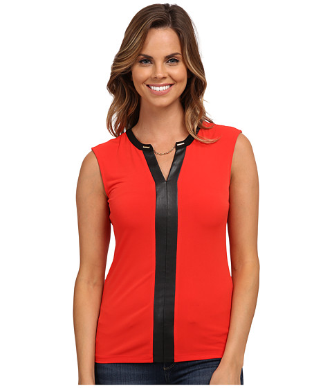 Calvin Klein - Short Sleeve V-Neck Chain Top (Tango Red) Women's Blouse
