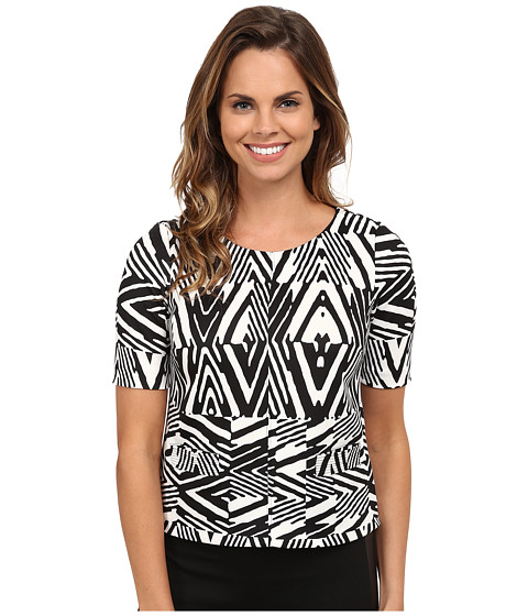 Calvin Klein - Short Sleeve Print Scuba Top (Black Peak) Women's Short Sleeve Pullover