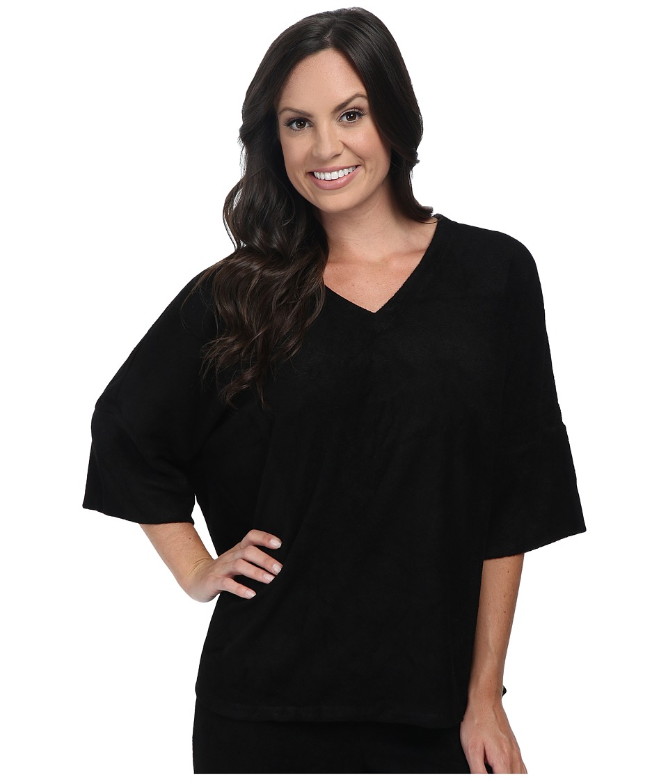 N by Natori - Terry Lounge Top (Black) Women's Pajama