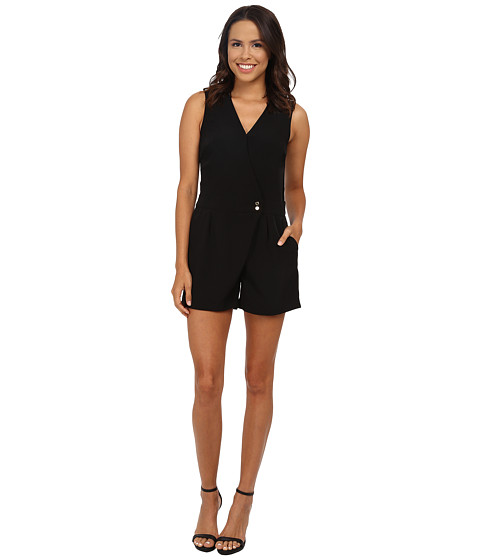 Calvin Klein - Wrap Romper w/ Snaps (Black) Women's Jumpsuit & Rompers One Piece