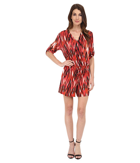 Calvin Klein - Long Sleeve Print Romper w/ Tie (Tango/Black Multi) Women