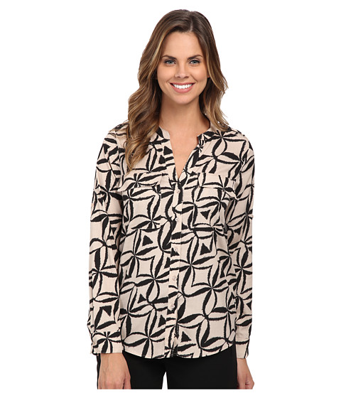 Calvin Klein - Print Crew Neck Roll Sleeve (Latte Multi) Women's Blouse