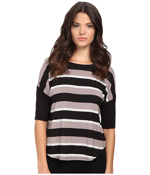 DKNY - Group 3/4 Top (Black Multi Stripe) Women