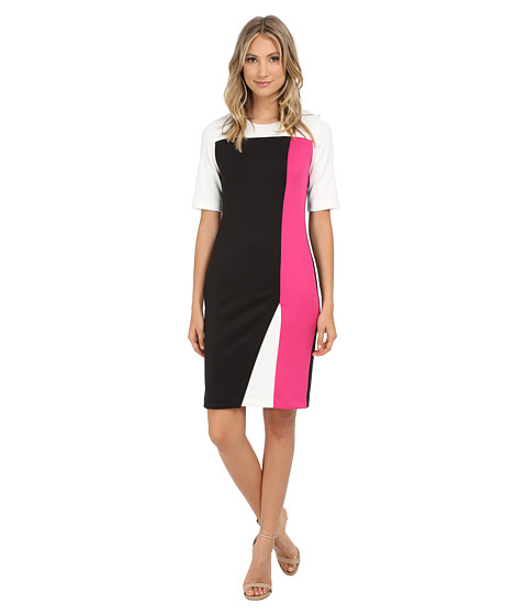 Calvin Klein - Short Sleeve Dress w/ Notch Bottom (Pink Glo) Women