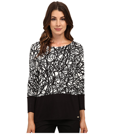 Calvin Klein - 3/4 Sleeve Dolman w/ Zip (String) Women's Clothing