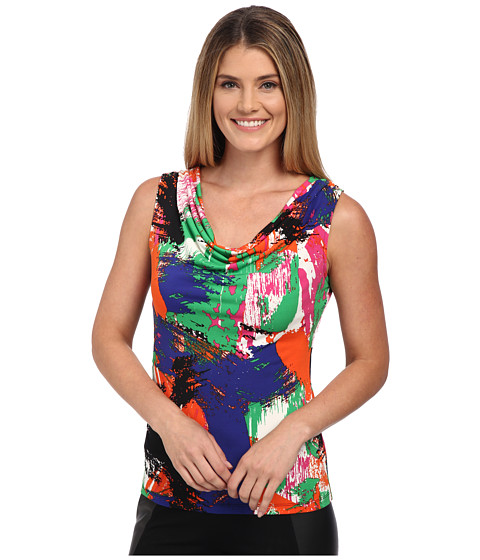 Calvin Klein - Print Cowl Neck Top (Byzantine Combo) Women's Clothing