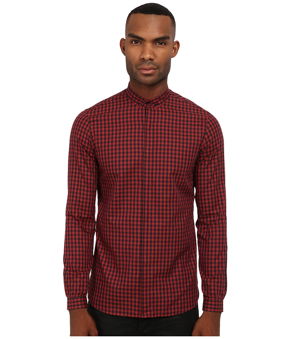 The Kooples - Sandblast Checks Shirt (Black/Red) Men's Long Sleeve Button Up
