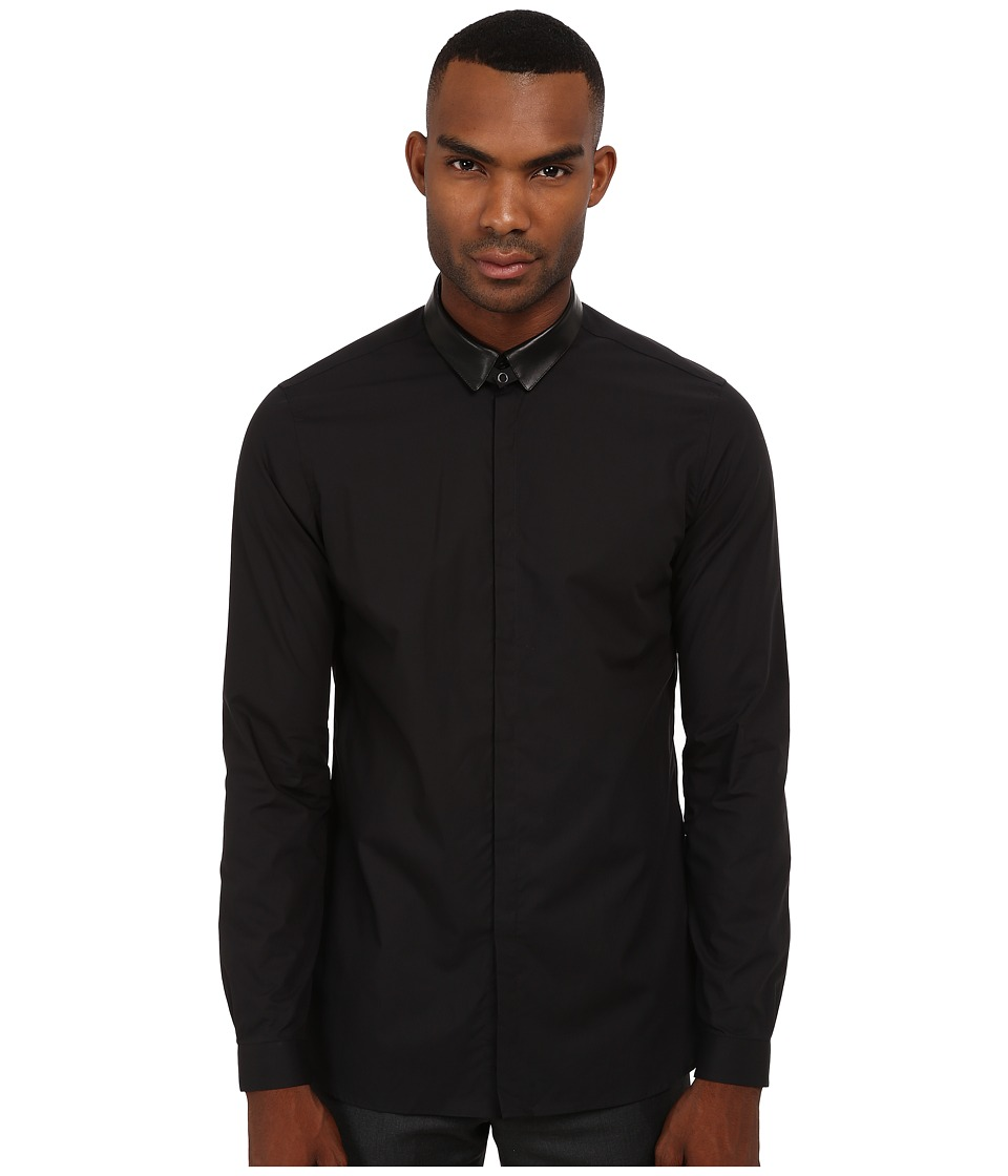 The Kooples - New Popeline w/ Leather Collar and Chain Shirt (Black) Men's Clothing
