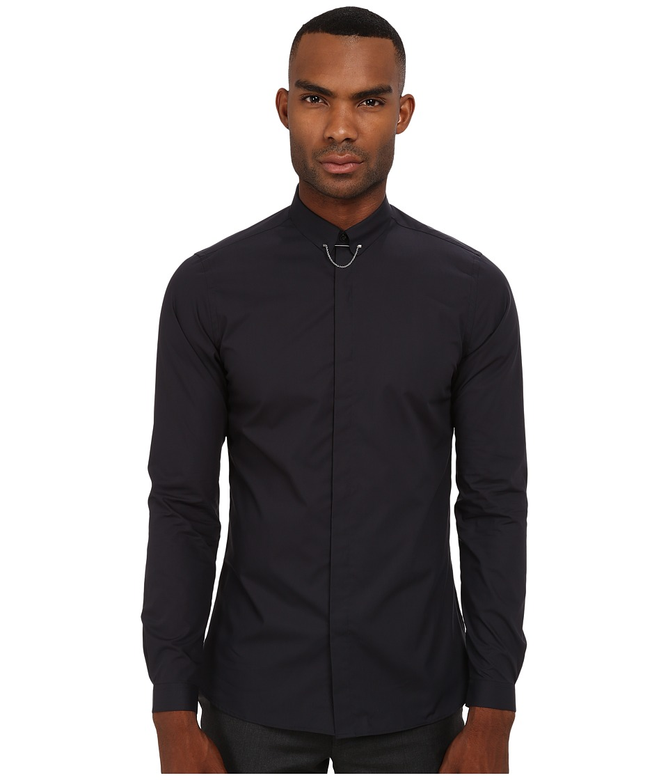 The Kooples - New Popeline w/ Collar Chain Shirt (Navy) Men's Long Sleeve Button Up